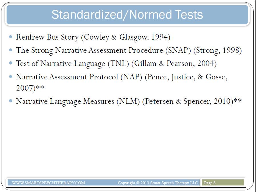 Review: Narrative Assessment of Preschool & School Aged Children